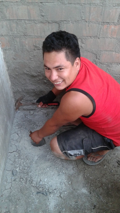 Roiser, though not a baby goat, is still pretty awesome. I´m convinced he can do anything. Here he is pounding through concrete by hand.