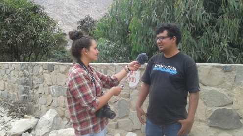 Here I am interviewing Edgar, the owner of the goat dairy.